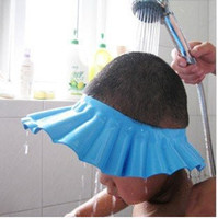 Wholesale Freeshipping Blue EVA Foam Soft Baby Kids Children Shampoo Bath Shower Cap Hat