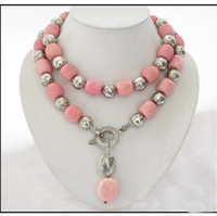 Wholesale New Arrive Christmas gift Jewelry inch AA MM Cylinder Pink Coral Ball Cupronickel Necklace