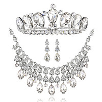 Wholesale bridal wedding jewelry Accessories Tiaras amp Hair set of the bride crown earrings necklace T011