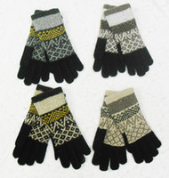 Wholesale Winter Double Warm Rabbit Wool Blend Jacquard Gloves New Design Unisex Fashion Gloves