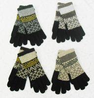 Wholesale Winter Double Warm Rabbit Wool Blend Jacquard Gloves New Design Unisex Fashion Gloves