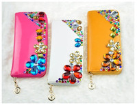 Wholesale Rhinestone holding purse ladies PU Hand bag fashion handbag clutch bag long section Ladies Wallets