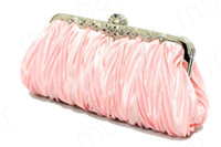 Wholesale Women Clutch Buckle Pleated Bling Bling New Arrival Wedding Evening Party Hand Bag B423