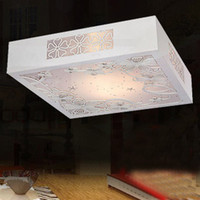 Wholesale Modern minimalist square ceiling lamp Wooden carved living room bedroom lighting lamps