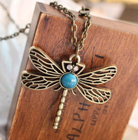 Wholesale Vintage Hollow Turquoise Dragonfly Pendant Necklace Fashion Charm Sweater Chain Bronze Women