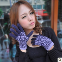 Wholesale High Quality Winter Double Warm Rabbit Wool Blend Kintting Gloves Snowflake Leopard Fashion Gloves