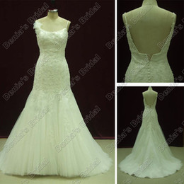 Ivory White Wedding Dresses Tulle Mermaid Appliques Beads And Pearls Beaded Real Actual Images DB288