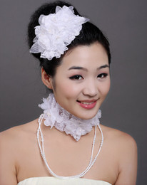 Wholesale 2013 New Selling Beautiful White Hair Flowers Decorations Cute Hairpins NeckLaces For Brides