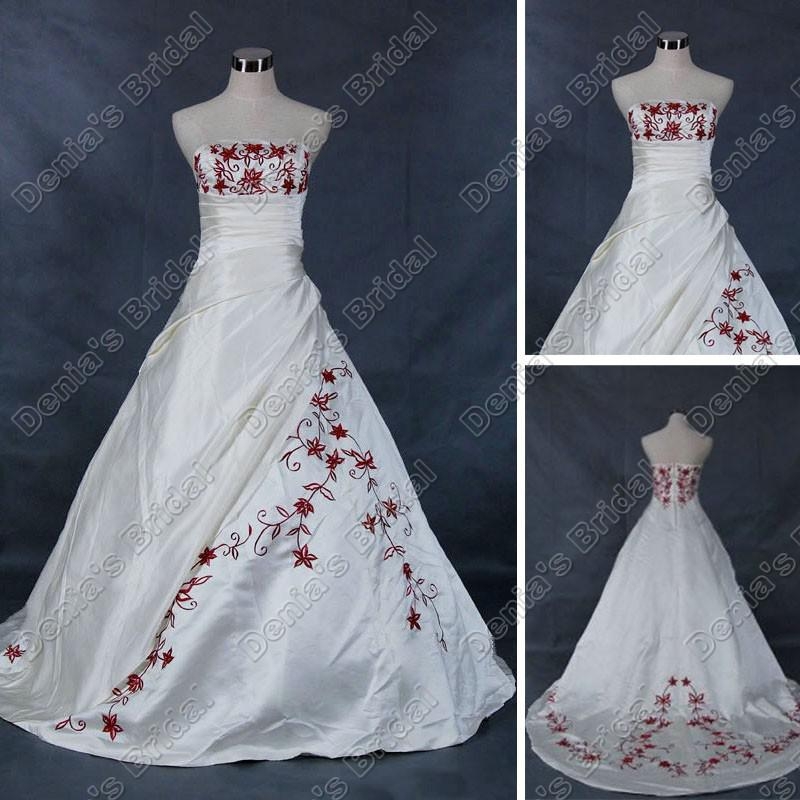 Discount Strapless Ivory White A Line Wedding Dresses Red ...