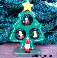 Wholesale Christmas Tree With Santa Claus Figure Toys Xmas Gifts Ornaments Baby Wooden Display Toy New In Box