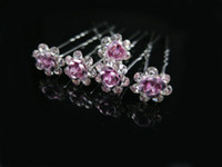 Wholesale 20 rose flower shape With Rhinestone Wedding Party Bridal Diamante Hair Pins free ship
