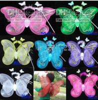 Wholesale 20 Sets HALLOWEEN BUTTERFLY FAIRY PRINCESS Wings Magic Wand Headband