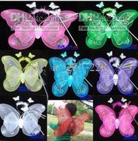 Wholesale 20 Sets HALLOWEEN BUTTERFLY FAIRY PRINCESS Wings Magic Wand Headband