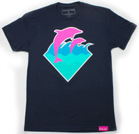Wholesale Pink Dolphin Fall Waves T shirts Tee men Shirts white Tshirt Pink Snapbacks