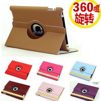Wholesale Magnetic Smart Cover Embossed leather Case for ipad New Ipad with Degrees Rotating Stand Whole