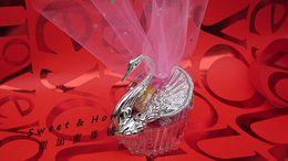 Wholesale large Candy box beauty swan candy bags wedding supplies pink yarn Wedding Favor supplies via FEDEX