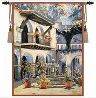 Wholesale Exquisite tapestry European hanging Mediterranean fountain plaza