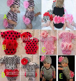 Wholesale Zebra Leopard Dot Multi Styles Baby Girl s Romper And Flower Hat Pieces Outfits Infant s Outfits