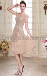 Wholesale Fashion Off Shoulder Mother Of The Bride Dresses Chiffon Tea Length Real Actual Images