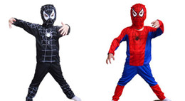Wholesale Fast Shipping Halloween Christmas Children s Spiderman Costumes Kid s Super Man Costumes red black