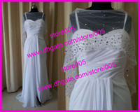 Wholesale Sexy White Split Front Beaded Chiffon Celebrity Prom Dresses Sequins Floor Length E1061