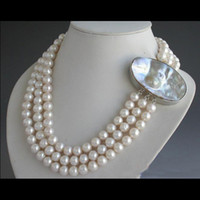 Wholesale New Arrive Christmas Gift Jewelry Row inch AA MM Round White Freshwater Pearl Necklace