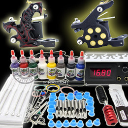 Wholesale Starter Tattoo Machine Guns Inks Grips Needles Power Kit Set Equipment Supplies WS KI253 LO