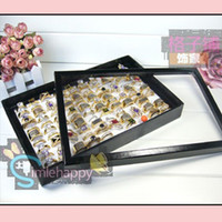 Wholesale Ring Tray Display Jewelry Trays Displays with cover slots cheap jewellery rings holder showcase