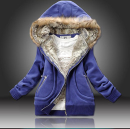 Wholesale Three Color Manufacturers Supply Women Winter Fur Collar Hooded Sweater Women Warm Clothing M XL