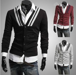 Free Shipping Men's sweater v-neck Shoulder fashion cuffs men's cardigan slim sweater wild sweater