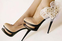 Wholesale fashion heart shape high heel shoes double deck mouth shoes women wedding shoes