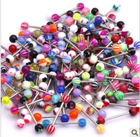 Wholesale Steel Barbell Labret Lip Eyebrow Ring Acrylic Ball Tongue Rings Body Piercing Jewelry