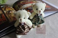 Wholesale plush mini bear UK Plaid Skirt with Bow in different colors Stuffed teddy bears special gift items