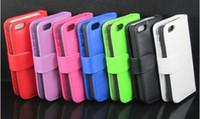 Wholesale High Quality PU Leather Wallet Case Cover With Credit Card Slots For iphone G IPHONE5