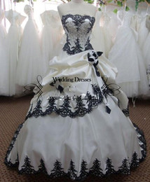 Wholesale Perfect White sweetheart satin with black lace and beadings ball gown ruffles wedding dresses