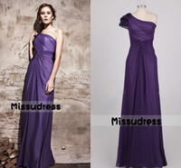 Wholesale Noble Purple One Shoulder Beading Chiffon Long Formal Evening Dress Lady s NIght Wear