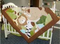 Wholesale Boy Baby Cot Bedding Jungle Animals Comforter Quilt Crib Sheet Bumper Bedskirt Storage Bag set of