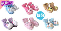 0-1year baby children footwear - Cheap Coral velvet cartoon animal head baby children footwear thick warm floor shoes non silp12pair