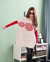 Wholesale Winter Plus Size Loose Causal Bat Sleeves Circle Striped Long Sweater Fashion Ladies Sweater