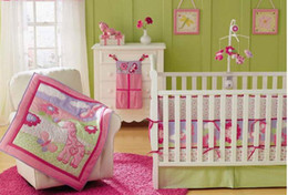 Wholesale New Girl Baby Cot Bedding Giraffe Flowers Comforter Quilt Crib Sheet Bumper Bedskirt items Set Hot