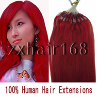 Wholesale 100S quot quot Micro rings loop hair remy Human Hair Extensions REDmix s set