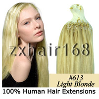 Wholesale 100S quot quot Micro rings loop hair remy Human Hair Extensions lightest blonde mix s set