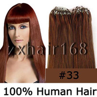 Wholesale 100S quot quot Micro rings loop hair remy Human Hair Extensions dark auburn mix s set