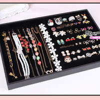 Wholesale Ring Necklace Tray Display with cover Jewelry bracelets Studs Holder Organizer cheap showcase case
