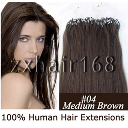 Wholesale 100s quot quot Indian Remy Micro rings loop hair Human Hair Medium Brown mix s set