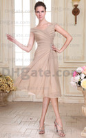 Wholesale 2012 New arrival Sexy V neck Chiffon Knee Length Evening Dresses Bridesmaid Dresses DHgate0033