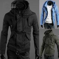 Wholesale Fashion Men s jacket Slim jacket coat men s clothing High collar hooded jacket Black Green blue
