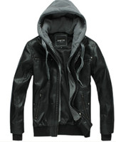 Wholesale Men s winter warm washed fur fashion hooded Leather jacket black M L XL XXL