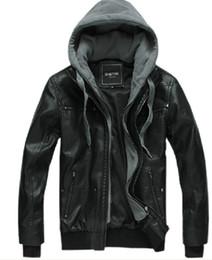 Wholesale Men s winter warm washed fur fashion hooded Leather jacket black M L XL XXL