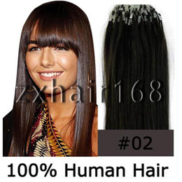 Wholesale 100S quot quot Micro rings loop hair remy Human Hair Extensions Dark Brown mix s set